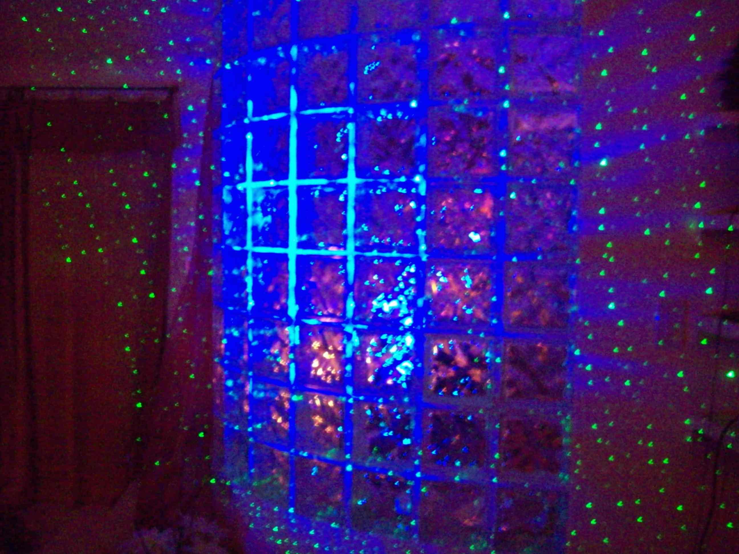 blisslights laser starfield projector on glass blocks. Black Bedroom Furniture Sets. Home Design Ideas