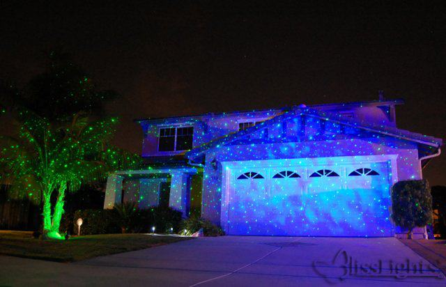 blisslight blue indoor projector shown in use outdoors during warm and. Black Bedroom Furniture Sets. Home Design Ideas
