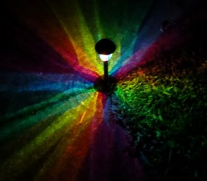 Rainbow Solar Path Light at night