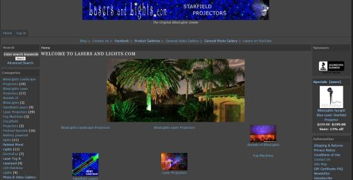 old lasers web site home page screen shot 2